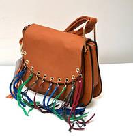 Оригинальная молодёжная женская сумка клатч VTTV коричневая