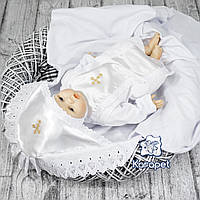 """Крестильный набор """"Ангел"""" (крыжма и одежда) белый атлас"""