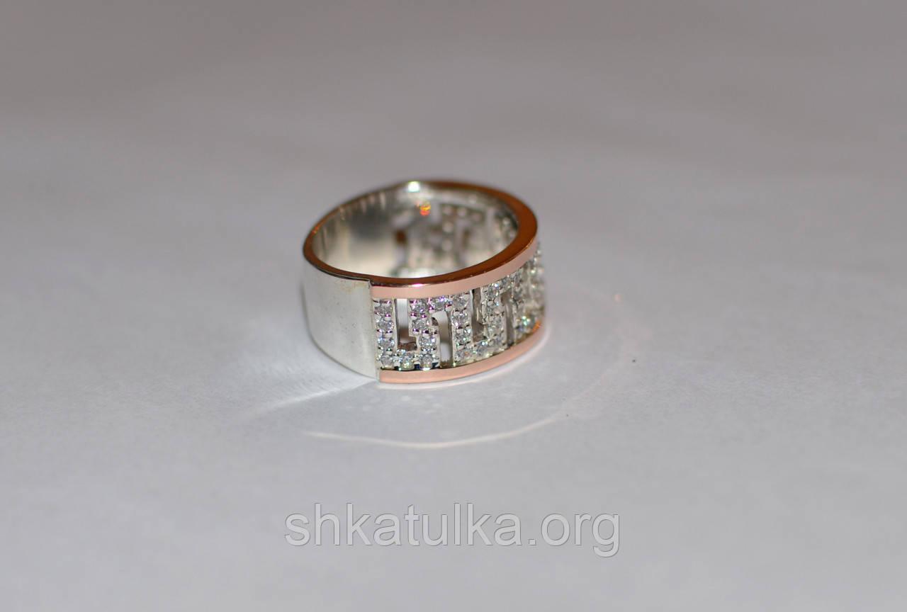 Серебряное кольцо с золотом