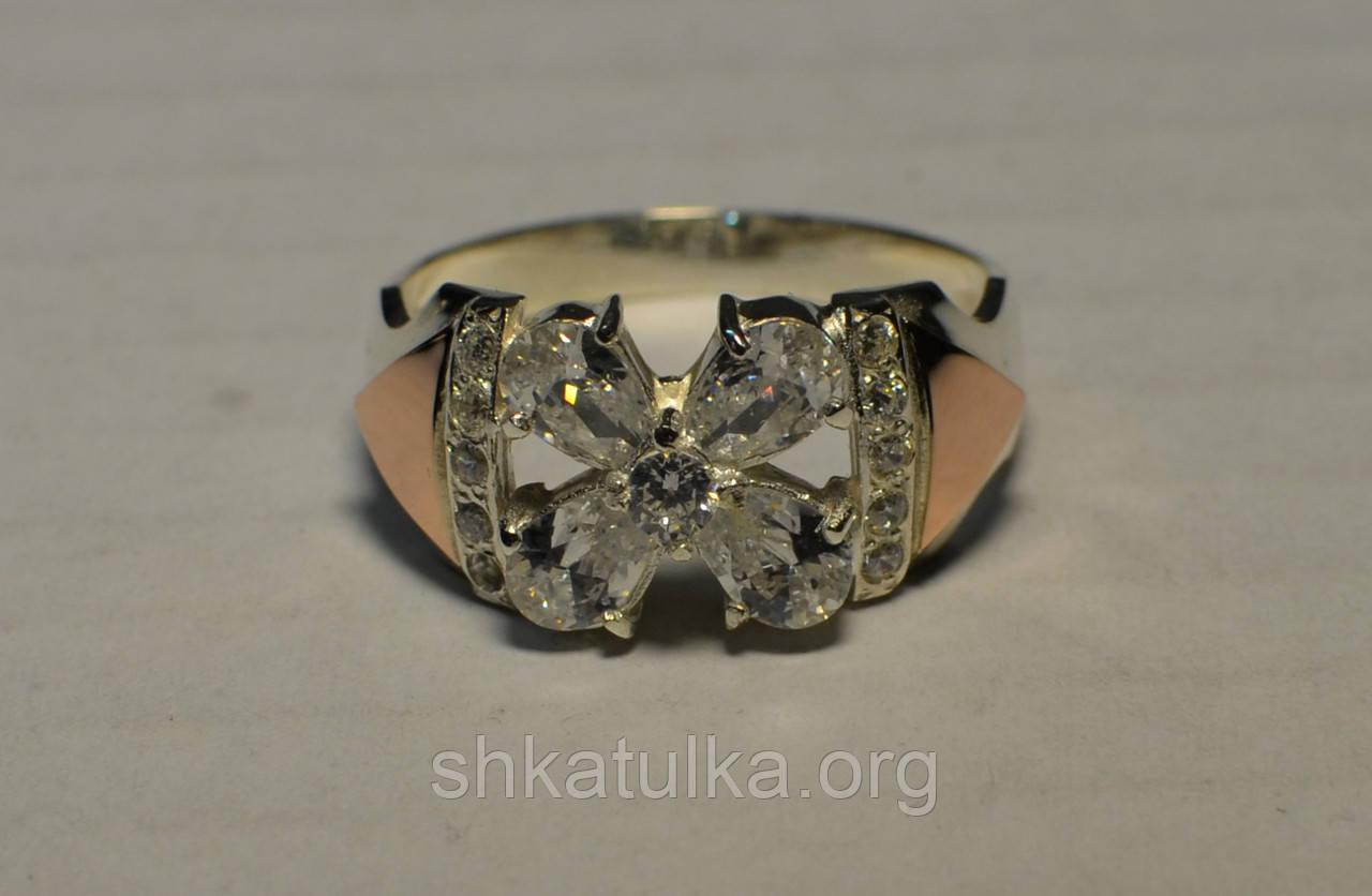 Кольцо серебряное с вставками золота и фианитами №24н