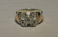 Кольцо серебряное с вставками золота и фианитами №24н, фото 1