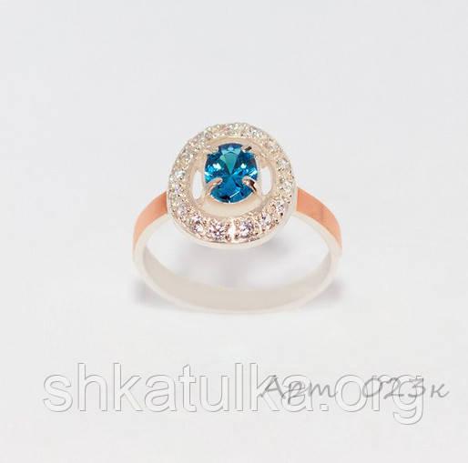 Кольцо серебряное с золотыми вставками №23н