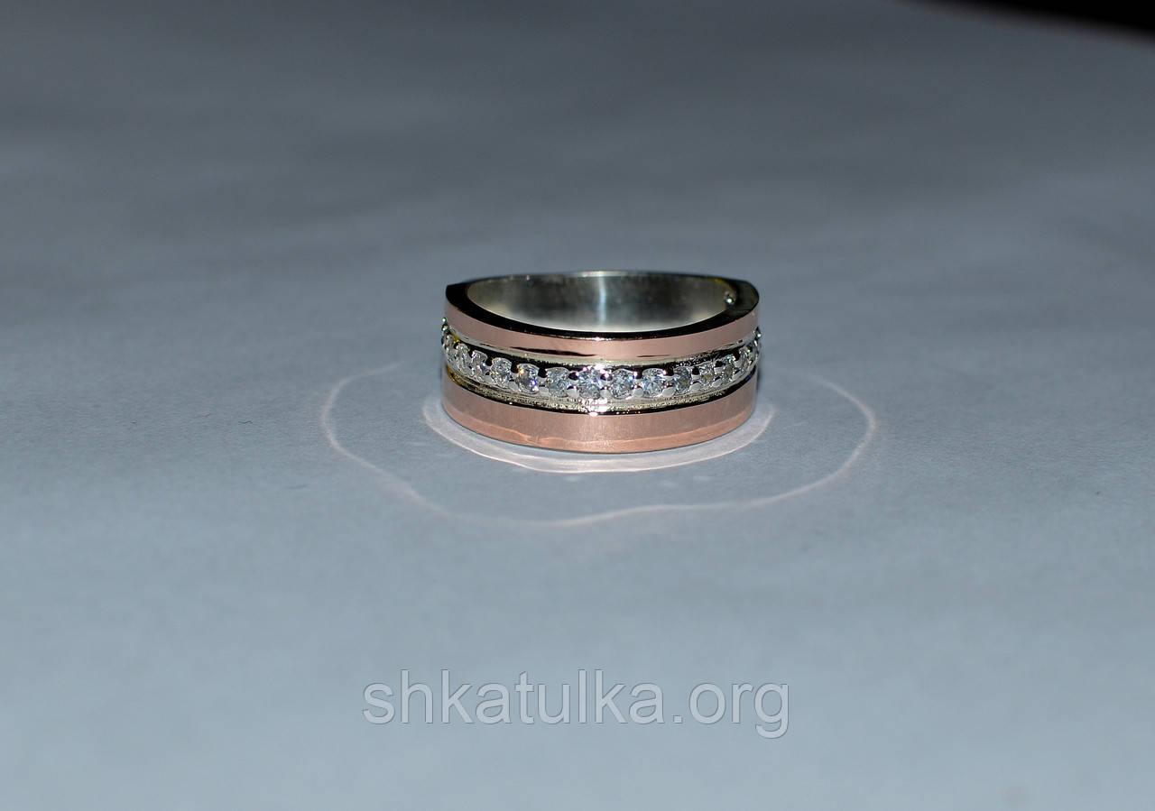 Кольцо серебряное 925 пробы с накладками золота 375 пробы №40н