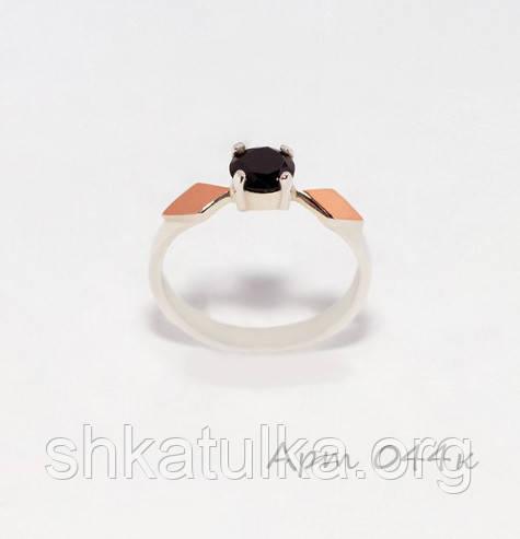 Кольцо серебряное с накладками золота №44н