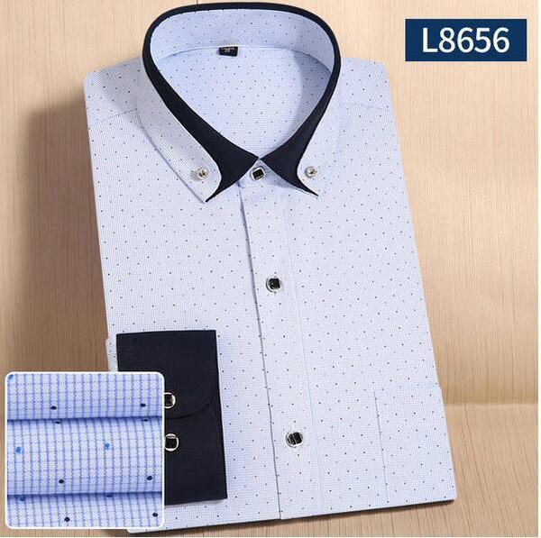 Мужская рубашка с длинным рукавом полоска точка
