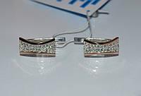 Серьги серебряные с золотыми вставками №49н