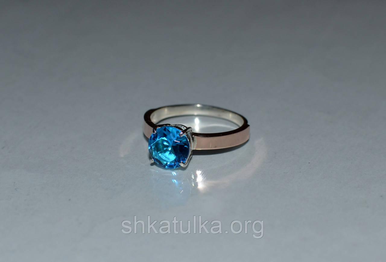 Серебряное кольцо с золотыми пластинками и фианитом №55н