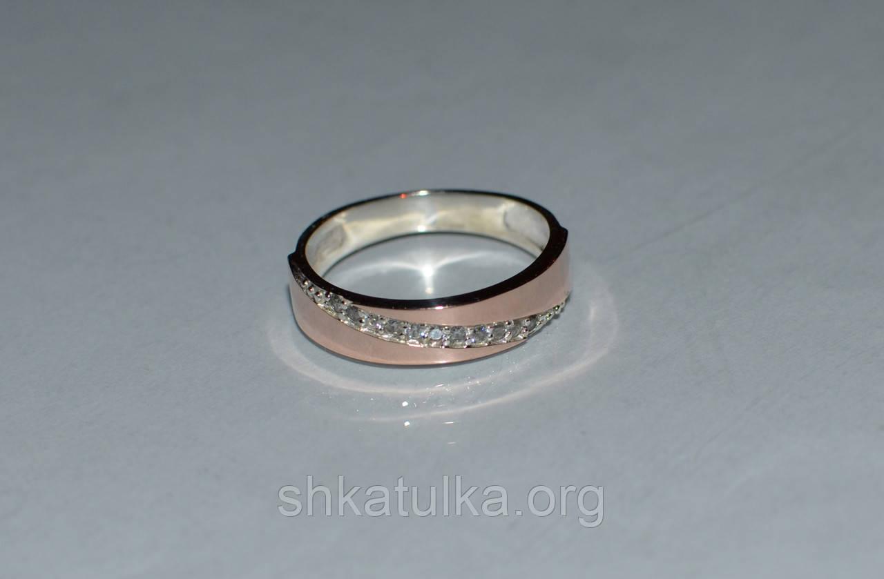 Кольцо серебряное с золотыми пластинками №53н