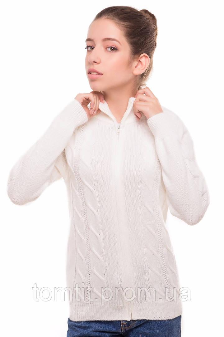 """Теплая шерстяная кофта """"Эсми"""", для девочки, на молнии, цвет молочный, на рост 140 см"""