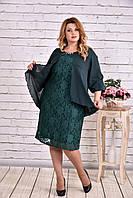 Нарядное женское платье больших размеров 0605 зеленое
