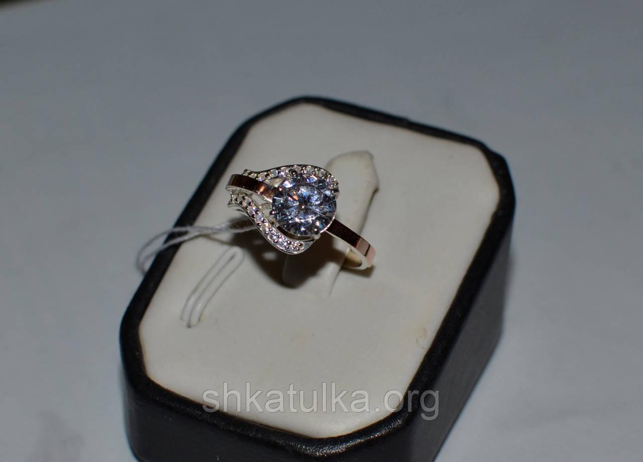 Серебряное кольцо с золотыми  вставками №56н