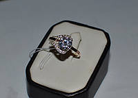 Серебряное кольцо с золотыми  вставками №56н, фото 1