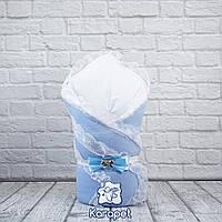 """Конверт одеяло для новорожденных на выписку """"Шарлота"""" голубой"""
