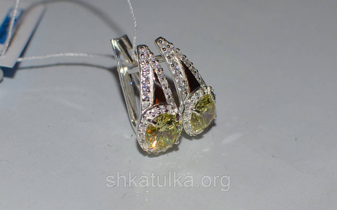 Серьги из серебра с золотыми пластинками