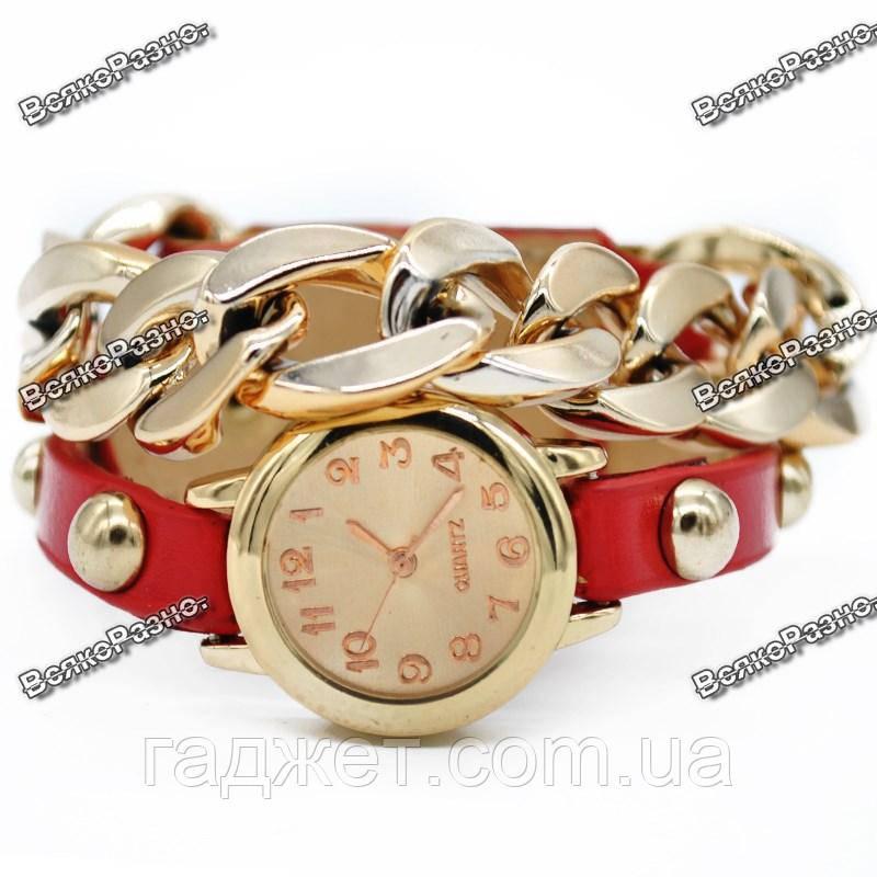 Женские наручные часы с декоративной цепочкой красного цвета. Женские часы.