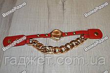 Женские наручные часы с декоративной цепочкой красного цвета. Женские часы., фото 3