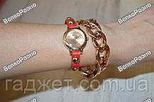 Женские наручные часы с декоративной цепочкой красного цвета. Женские часы., фото 2