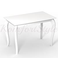Стол стеклянный кухонный на деревянных ножках Император Белый