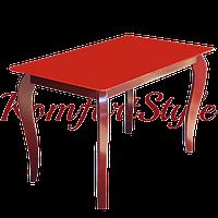 Стол стеклянный кухонный на деревянных ножках Император Редвуд Рэд