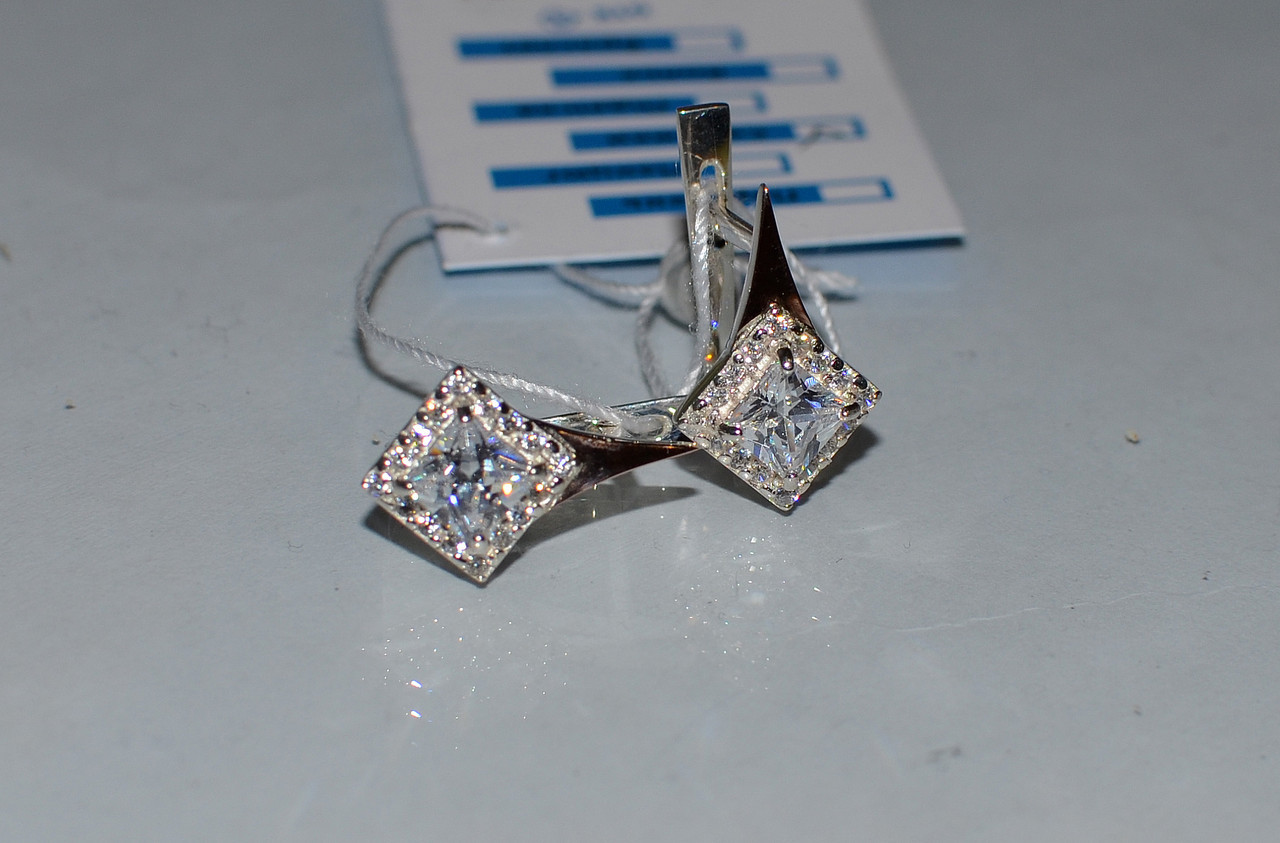 Серебряные серьги с золотыми напайками