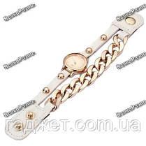 Женские наручные часы с декоративной цепочкой белого цвета. Женские часы, фото 2