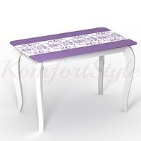Стол стеклянный кухонный на деревянных ножках Императрица Екатерина