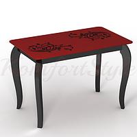 Стол стеклянный кухонный на деревянных ножках Император Шик
