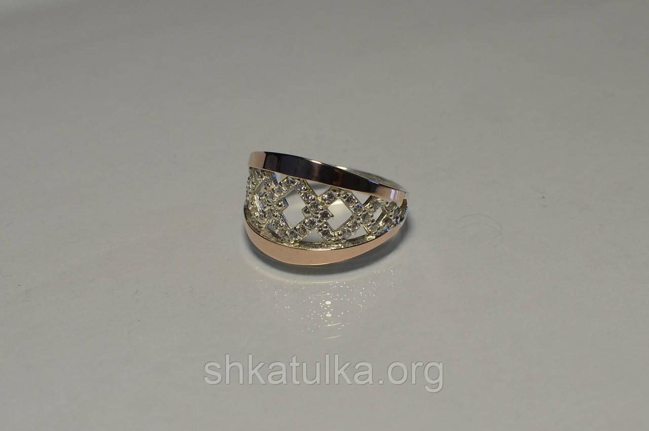 Кольцо серебряное с золотыми вставками №87н