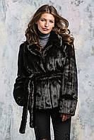 Полушубок женский стильный из эко меха чёрный