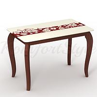 Стол стеклянный кухонный на деревянных ножках Император Ностальжи