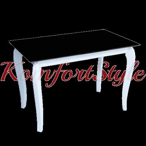 Стол стеклянный кухонный на деревянных ножках Император Контраст