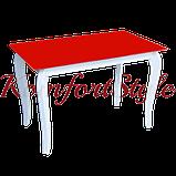 Стіл кухонний скляний на дерев'яних ножках Імператор Беліссімо, фото 2