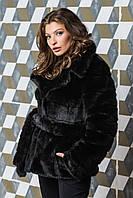 Полушубок женский модный из эко меха чёрный