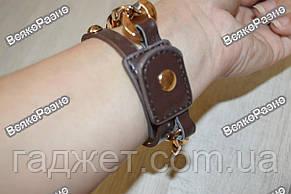 Женские наручные часы с декоративной цепочкой коричневого цвета.Женские часы, фото 2