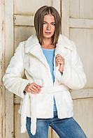Полушубок женский модный из эко меха белый