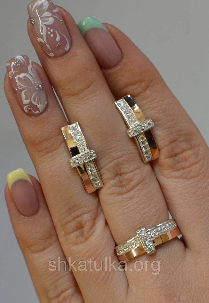 Серебряный комплект с золотыми вставками №101н