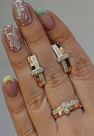 Серебряный комплект с золотыми вставками №101н, фото 1