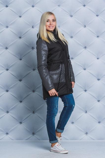 Стильное женское пальто черный горох