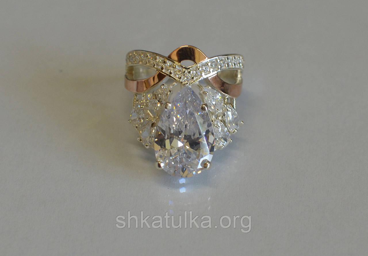 Кольцо из серебра с золотыми вставками №99н