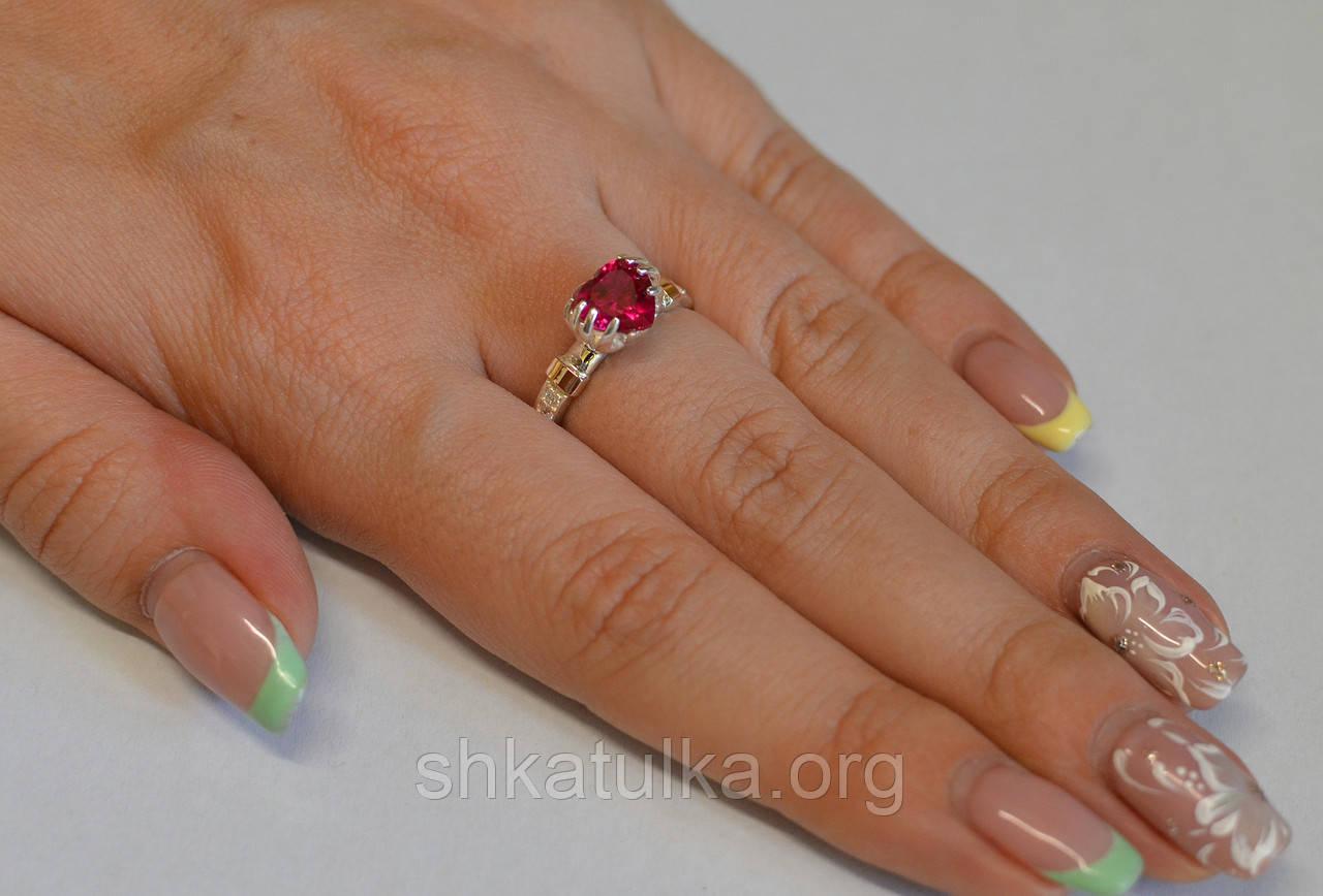 Серебряное кольцо с вставками золота и фианитом №102н