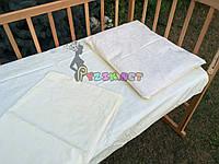 Постельный набор в детскую кроватку (3 предмета) Рюшки молочное, фото 1