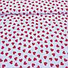 Ткань c мелкими красными сердечками на белом фоне, ширина 160 см