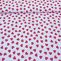 Ткань c мелкими красными сердечками на белом фоне, ширина 160 см, фото 1