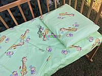 Постельный набор в детскую кроватку (3 предмета) Жирафы Салатовый, фото 1