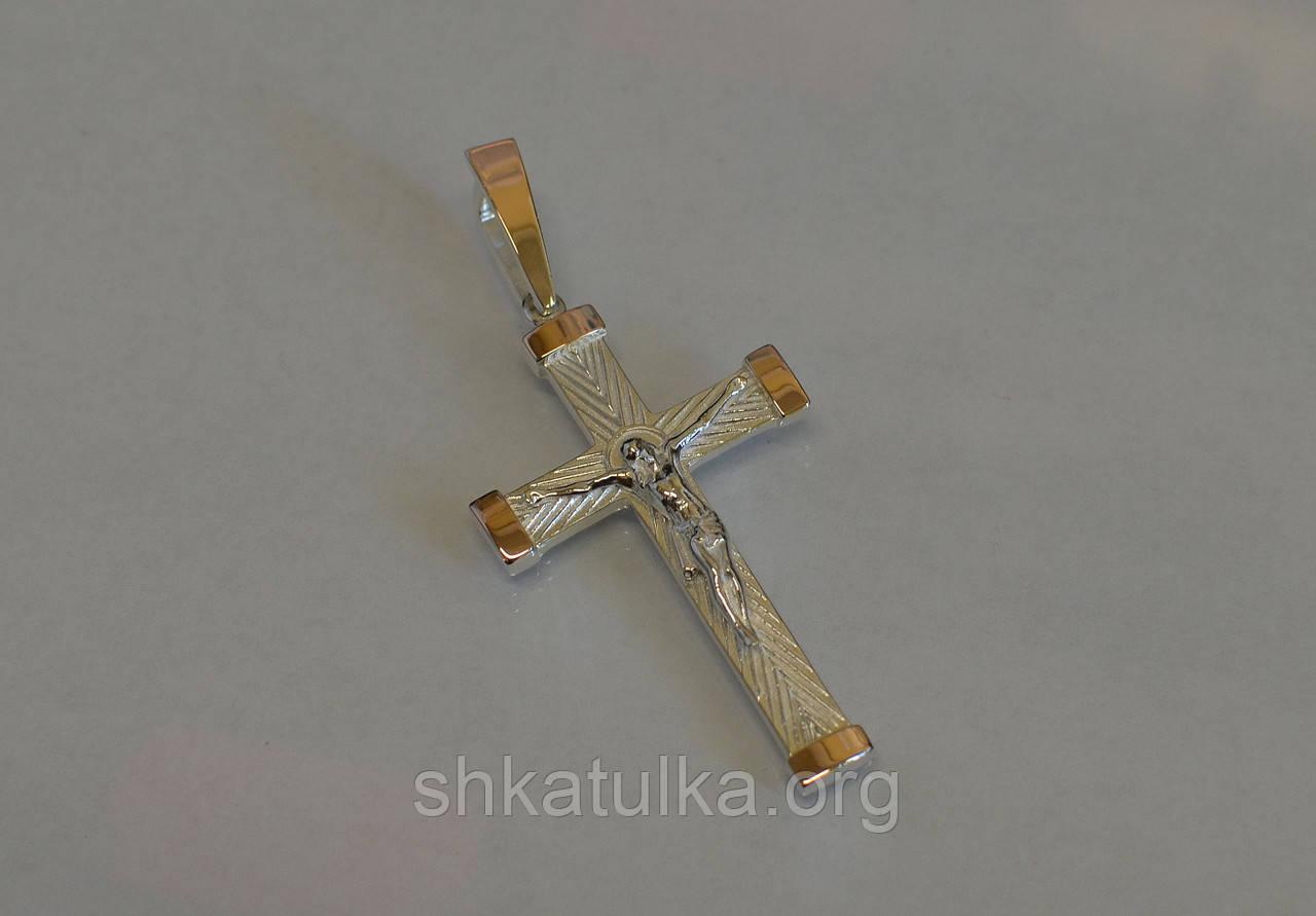 Серебряный крест с вставками золота №К-7н