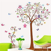 """Наклейка на стену в детскую комнату """"совы на дереве"""" Высота дерева 1м70см (2листа60*90см)"""