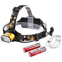 Фонарь на лоб police 2128-2t6, signal light, 2х18650, зу micro usb, индикатор заряда, комплект lo