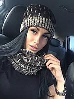 Женский модный теплый комплект: шапка на флисе и шарф-хомут (5 цветов)