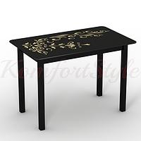 Стол стеклянный кухонный на деревянных ножках Монарх Черный зефир