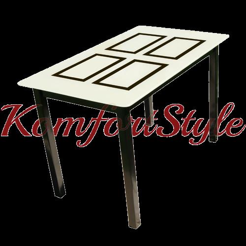 Стол стеклянный кухонный на деревянных ножках Монарх Бридж
